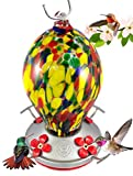 Grateful Gnome Hummingbird Feeder – Hand Blown Glass – Speckled Egg – 28 Fluid Ounces