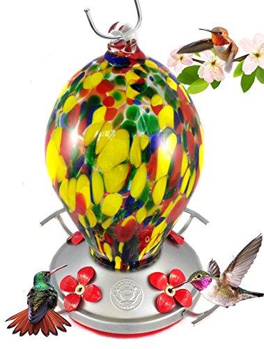 Grateful Gnome - Hummingbird Feeder - Hand Blown Glass - Speckled Egg - 28 Fluid Ounces (Feeder Speckled Bird)