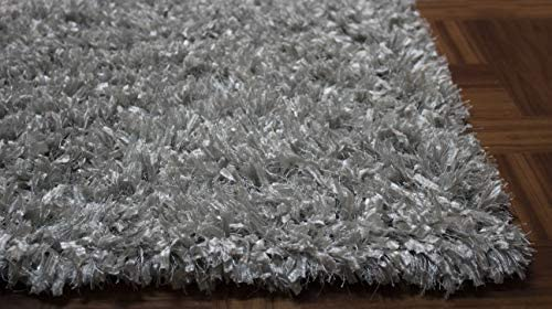5×7 Feet Large Size Ice Blue Silver Blue Bluish Silver Two Tone Color Shag Shaggy Fluffy Fuzzy Furry Solid Plush Pile Area Rug Carpet Rug Bedroom Living Room Decorative Designer Modern Contemporary