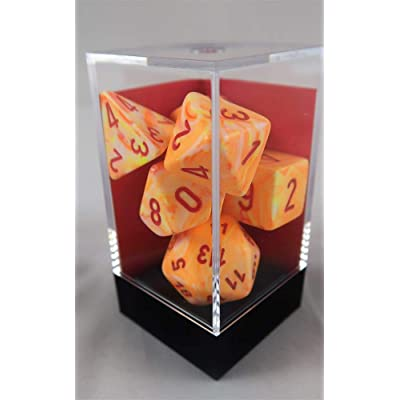 Chessex Festive Polyhedral Sunburst W/Red 7-Die Set: Toys & Games