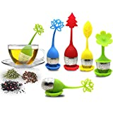 Tea Infuser with Drip Tray Included Set of 5, SourceTon Silicone Handle Stainless Steel Strainer Filter Loose Tea Steeper - Best Tea Infuser for Herbal Tea that used in Tea Cups, Mugs, and Teapots