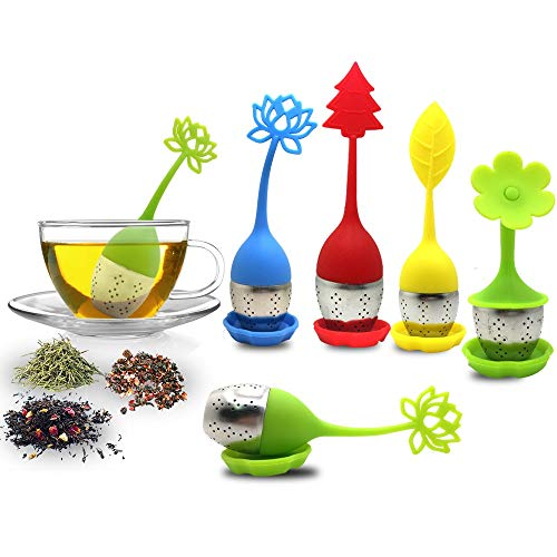 El infusor de te con bandeja de goteo incluye el juego de 5, filtro de te y filtro de te SourceTon con mango de silicona de acero inoxidable y filtro de te