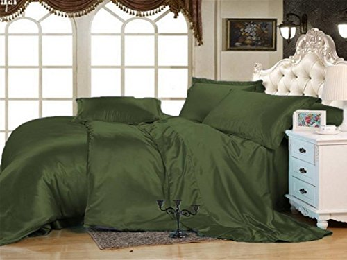 Set Comforter Soft Touch (MOONLIGHT BEDDING Luxurious Ultra Soft Silky Vibrant color Satin 6-Piece (1 Flat sheet, 1 Fitted Sheet & 4 Pillowcases) Bed Sheet Set with 15'' deep Queen, Olive)