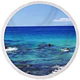 Pixels Round Beach Towel With Tassels featuring ''High Angle View Of Surf At The Coast'' by Pixels
