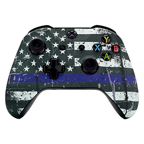 eXtremeRate Custom Patterned Front Housing Shell Faceplate for Xbox One S & Xbox One X Controller - The Thin Blue Line Flag of USA (Shell Xbox Blue Controller)