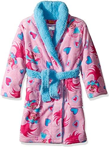 Trolls Little Girls' Luxe Plush Robe, Light Pink Fun, 6