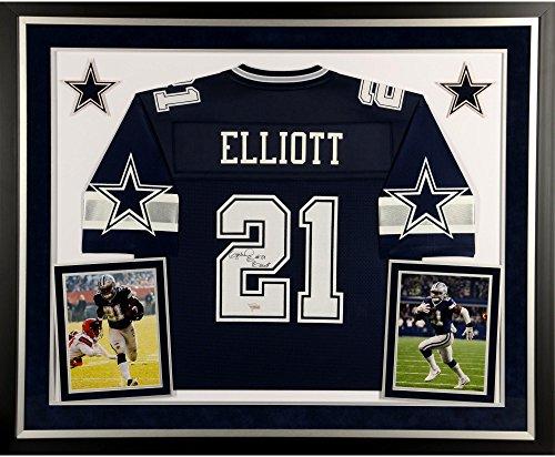 Ezekiel Elliott Dallas Cowboys Deluxe Framed Autographed Navy Pro-Line Jersey - Fanatics Authentic Certified