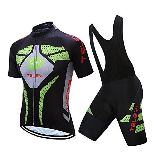 summerest Maillots de cyclisme pour hommes - Uniforme de vélo à manches courtes respirant avec cuissard à bretelles en gel 3D pour vêtements de vélo Pro
