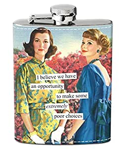Anne Taintor Stainless Steel Hip Flask With Funnel - Make Some Extremely Poor Choices