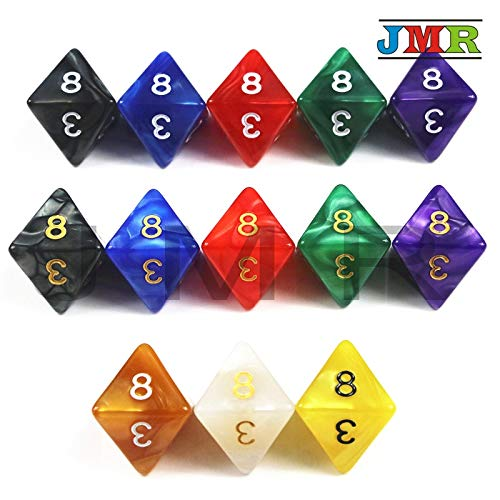 - 10PCS TRPG D8 Dice for Dungeons & Dragons 8 Sided Games Dices 6 Colors Desktop Polyhedral Set,as Toy Kit- Black Gold Ink