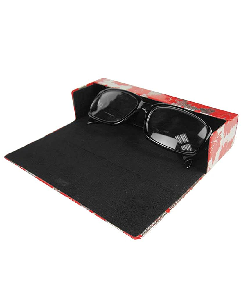 JAVOedge Maple Leaves Pattern Rectangular Eyeglasses Magnetic Enclosure Case and Bonus Microfiber Cleaning Cloth EYEW-00234-C49