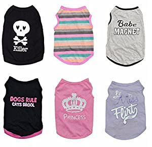 6 pcs/lot Pet Puppy Summer Vest Small Dog Cat Dogs Clothing Cotton T Shirt Apparel Clothes Dog Shirt