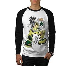 Crazy Grass Bong Weed Gas Mask Men NEWS-2XL Baseball LS T-shirt | Wellcoda