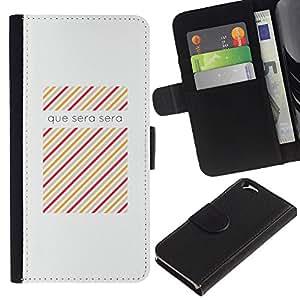 KLONGSHOP // Tirón de la caja Cartera de cuero con ranuras para tarjetas - Sera Cita de la Canción Francesa motivación - Apple Iphone 6 //