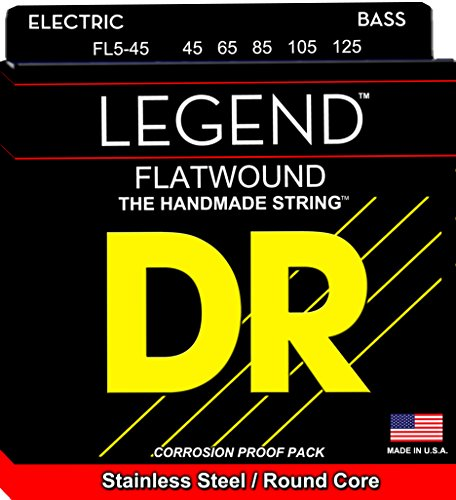 DR Strings Hi-Beam Flats - Flatwound Stainless Steel Round Core 5 String Bass 45-125 5 String Medium Bass