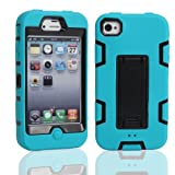 iPhone 4 Case, iPhone 4S Case, Lantier Powerful Protection [3 In1 Color Mix Design],Hybrid Hard Soft Durable Bumper Case Armor Case Back Cover Case with Kickstand for Apple iPhone 4 4S Blue-Black