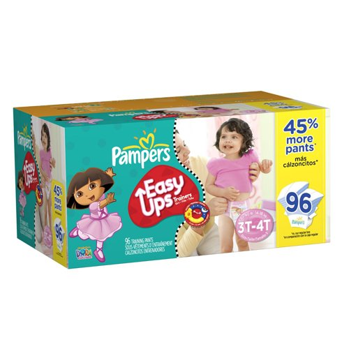 Pampers Easy Ups Training Pants for Girls, Size 3T/4T, 96 Count