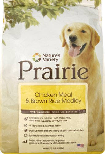 Prairie Chicken Meal and Brown Rice Medley Dry Dog Food by Nature's Variety, 15-Pound Bag, My Pet Supplies