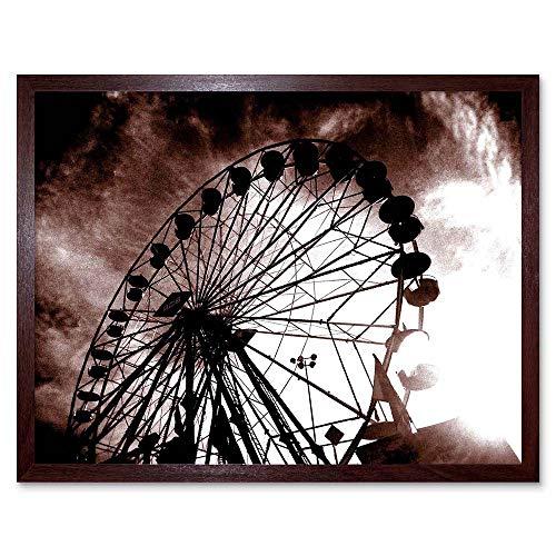 (Cultural Fair Ferris Wheel Black White Abstract Art Print Framed Poster Wall Decor 12x16 inch)