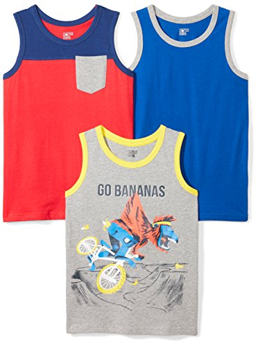 Spotted Zebra Toddler Boys' 3-Pack Sleeveless Tank Tops, Go Banana, - Toddler Sleeveless