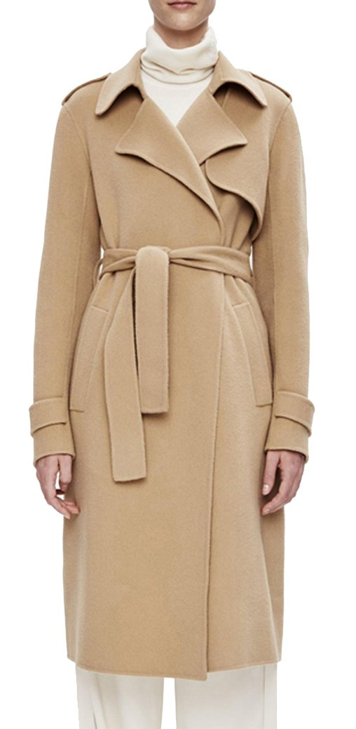 AZIZY Women's Classic Mid-Length Lapel Long Sleeve Thick Slim Wool Trench Coat With Belt Camel S