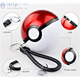 iKlipStore® Pokemon GO 2.4 A Pokeball Portable Cell Phone Charger, USB Power Bank for Mobile External Battery for iPhone, Samsung, LG, Nexus, HTC, Charger Included LED Lights High Capacity Power 12,000 mAh