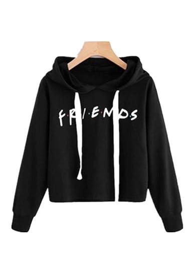 Womens Friends Hoodies,Crop Top Sweatshirt Athletic Hooded Pullover XS Black bc3cf21f9a