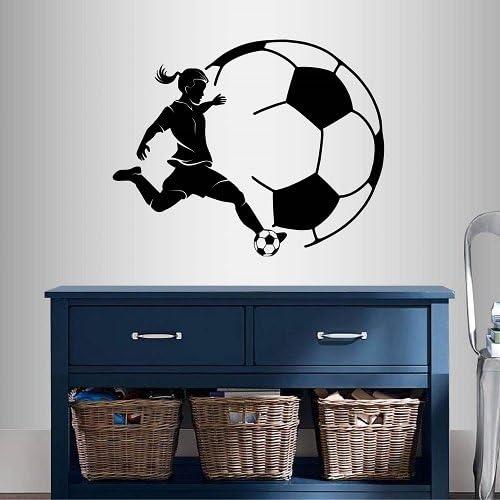 Soccer Girl Play Ball Kick Sport Athlete Vinyl Wall Art Stickers Home Room Decal