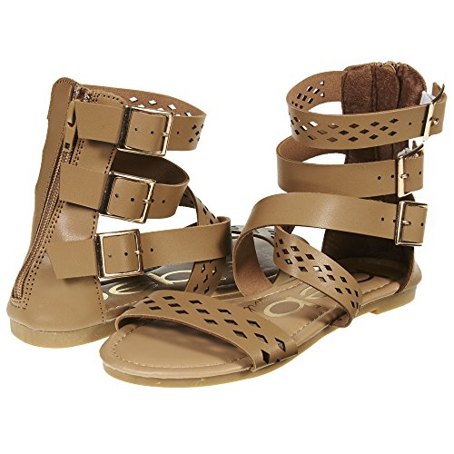 2e019a8d088 bebe Girls Triple Ankle Wide Strap Flat Sandals with Back Zipper (See More  Colors and