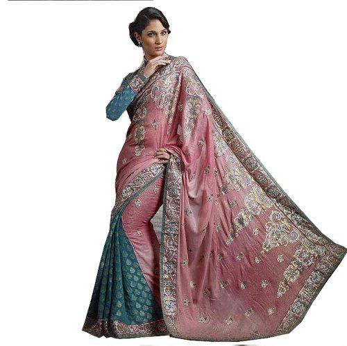 Pink Embroidered Fashion Sari Fancy Designer Cocktail Sar...