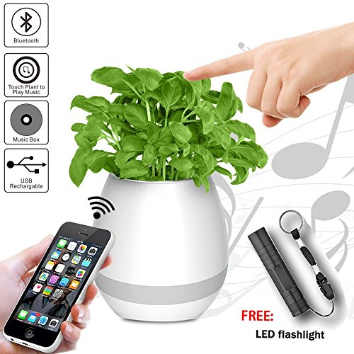 Music Flowerpot, AINATU Bluetooth Speaker Touch Plant Piano Music Playing Flowerpot Rechargeable Smart Multi-color LED Light Round Plant Pots for Home, Office, Kids Toys(White)