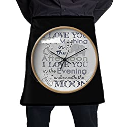 Nicokee Elephant Wall Clock Chef Aprons Mens Womens Waist Tie Half Bistro Apron With 2 Pockets For Home Kitchen Cooking