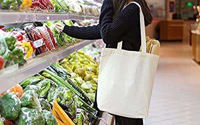 ATBAY 100% Cotton Canvas Washable Grocery Tote Bag with Long Shoulder Strap and Removable Bottom Base Stiffener Insert - Natural …