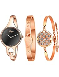 Xinge Womens Rose Gold Bangle Watches and Bracelets Set Black Dial with 2 Hands XG3678BR&0620