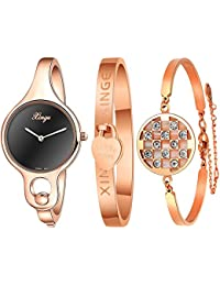 Women's Rose Gold Bangle Watches and Bracelets Set Black Dial with 2 Hands XG3678BR&0620