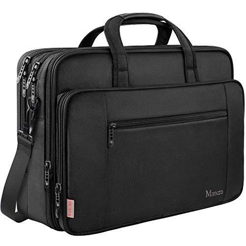 17 Inch Laptop Briefcase for Men, Soft Business Bag for Women, Big Expandable Computer Shoulder Bag, Carry on Large Laptop Case, Waterproof, Mancro Office Bag Fits 17 15.6 Inch Laptop, Black (Toshiba Case 7 In Tablet)