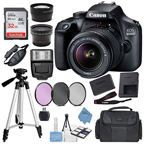 Canon EOS 4000D (Rebel T100) Digital SLR Camera w/ 18-55MM DC III Lens Kit (Black) with Accessory Bundle, Package Includes: SanDisk 32GB Card + DSLR Bag + 50'' Tripod + Extreme Electronics Cloth...