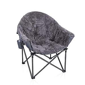 ALPHA CAMP Moonchair Gepolsterter Campingstuhl mit Plüsch faltbar Campingsessel mit Seitenhalt Klappstuhl Gartenstuhl…