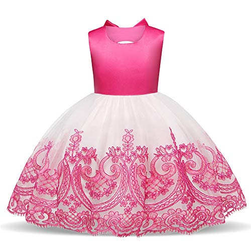 Iddefee Children's Dress Baby Girl Sleeveless Backless Embroideried Floral Lace Birthday Wedding Party Pageant Dress (Pattern : Rose red, Size : 90) ()