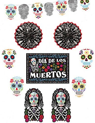 Day of The Dead Halloween Party Assorted Sugar Skull Room Decorating Kit, Paper, Pack of 6