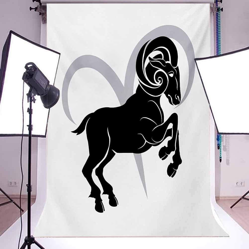 Zodiac Aries 8x10 FT Photo Backdrops,Black Silhouette of a Astrological Animal Standing on Grey Sign Background for Kid Baby Boy Girl Artistic Portrait Photo Shoot Studio Props Video Drape Vinyl