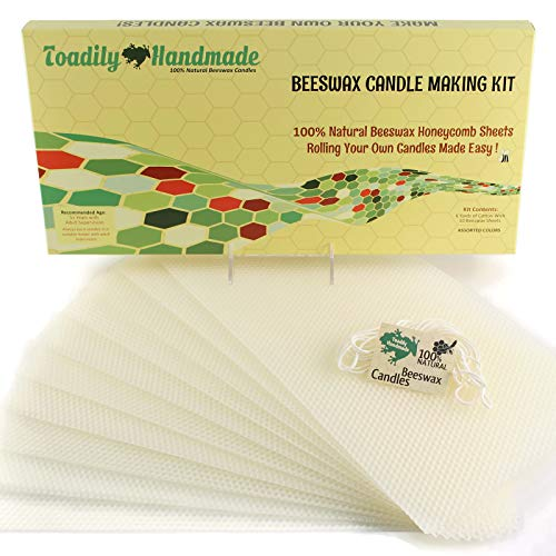 Make Your Own Beeswax Candle Kit - Includes 10 Full Size 100% Beeswax Honeycomb Sheets in Ivory and Approx. 6 Yards (18 Feet) of Cotton Wick. Each Beeswax Sheet Measures Approx. 8