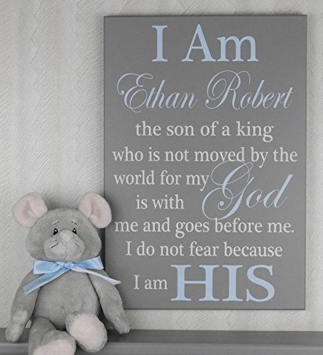 I Am His Christian Wall Art, Son of a King Baby Nursery, Boy's Room Decor, Personalized Decor, Custom Child's room, Playroom Sign, Light Blue and Gray