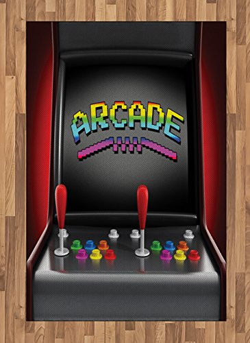 Ambesonne Video Games Area Rug, Arcade Machine Retro Gaming Fun Joystick Buttons Vintage 80's 90's Electronic, Flat Woven Accent Rug for Living Room Bedroom Dining Room, 4 X 5.7 FT, Multicolor ()