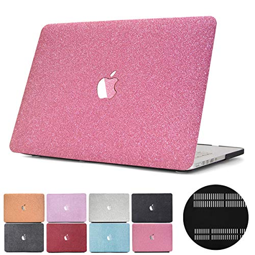 PapyHall 2 in 1 Glitter Bling Frosted Texture Series Plastic Hard Case, Full Body Protection Cover fro Apple Macbook Air 13 inch Model: A1369/A1466(MS-Pink) ()