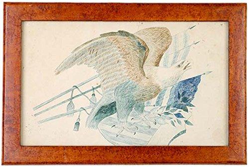 Pen and Ink Folk Art American Heraldic - Pen Vintage Eagle