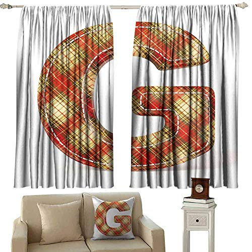 DUCKIL Heat Insulation Curtain Letter G Uppercase G Character Old Fashioned Checkered Plaid Classical Pattern Thermal Insulated Tie Up Curtain W63 xL45 Vermilion Pale Yellow