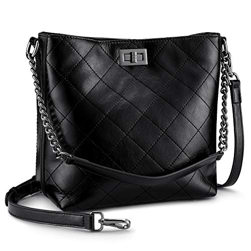 (S-ZONE Women Hobo Bag Crossbody Shoulder Bag Leather Bucket Bag Handbag Tote)