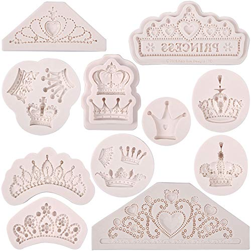 3D Crown Mold Queen Fondant Molds Princess Crown Silicone Cake Topper Mold Bakery Decorator Bakeware Idea DIY Birthday for Cake Decorating by PROKITCHEN, 11 Pieces