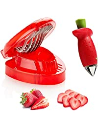 Gain Bumud Strawberry Corer Slicer Combo Set - Time-saving Gadget Fruit Pitters Cutter compare